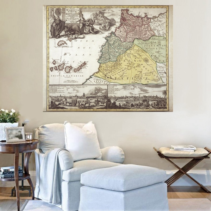 Lion Snake Graffiti Vintage Map Wall Art For Bedroom Decorations pertaining to Vintage Map Wall Art (Image 7 of 20)