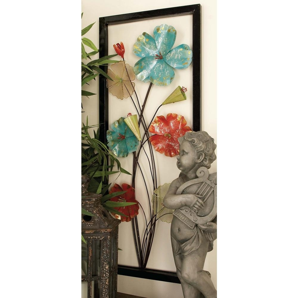 Litton Lane 15 In. X 38 In. Iron Framed Flower Metal Wall Art (Set intended for Metal Flowers Wall Art (Image 10 of 20)
