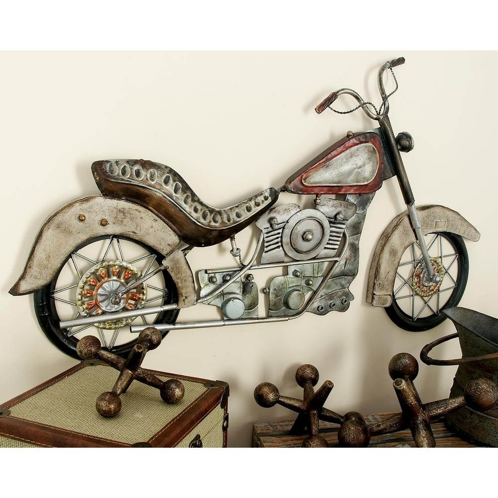 Litton Lane 17 In. X 30 In. Metal Vintage Motorcycle Wall Plaque within Motorcycle Wall Art (Image 8 of 20)