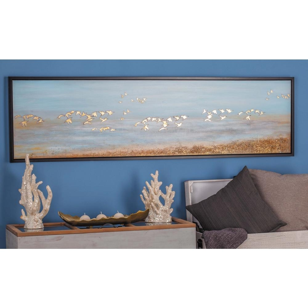 "Litton Lane 19 In. X 71 In. ""white Birds Flying"" Framed Hand Painted regarding Bird Framed Canvas Wall Art (Image 16 of 20)"