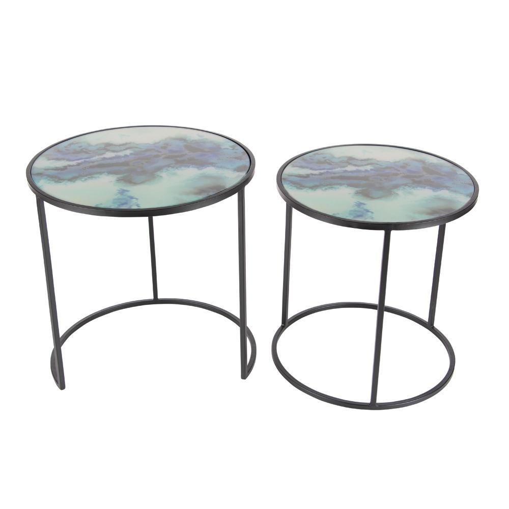 Litton Lane 20 In. X 19 In. Nesting Iron And Glass Accent Table (Set intended for Aged Iron Cube Tables (Image 20 of 30)