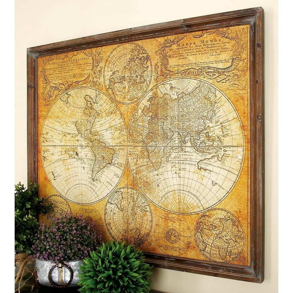 Litton Lane 34 In. X 41 In. Mdf Antique World Map Wall Decor-20327 with regard to Vintage Map Wall Art (Image 8 of 20)