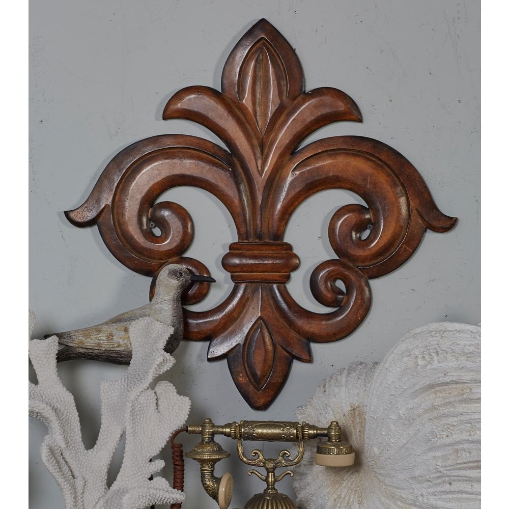 Litton Lane French-Inspired Carved Fleur-De-Lis Wooden Wall Art inside Fleur De Lis Wall Art (Image 12 of 20)