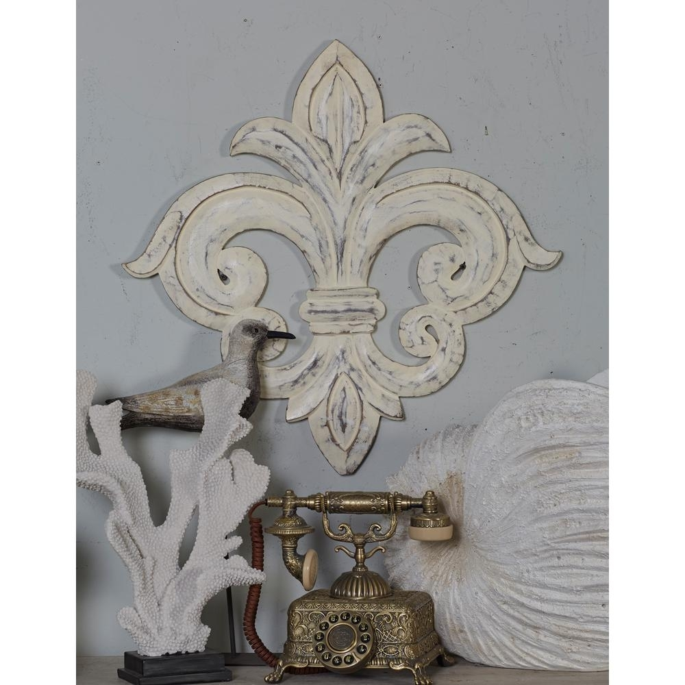 Litton Lane French-Inspired Whitewashed Fleur-De-Lis Wooden Wall Art for Fleur De Lis Wall Art (Image 13 of 20)