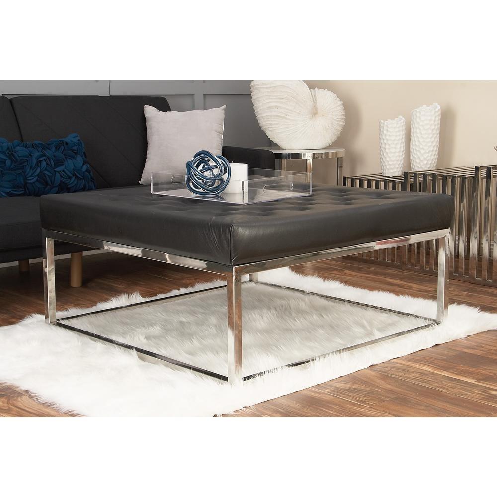 Litton Lane Modern Black And Silver Button-Tufted Coffee Table-59654 inside Button Tufted Coffee Tables (Image 16 of 30)