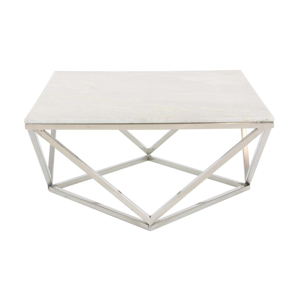 Litton Lane Modern Marble Top Coffee Table-57343 - The Home Depot throughout Modern Marble Iron Coffee Tables (Image 16 of 30)