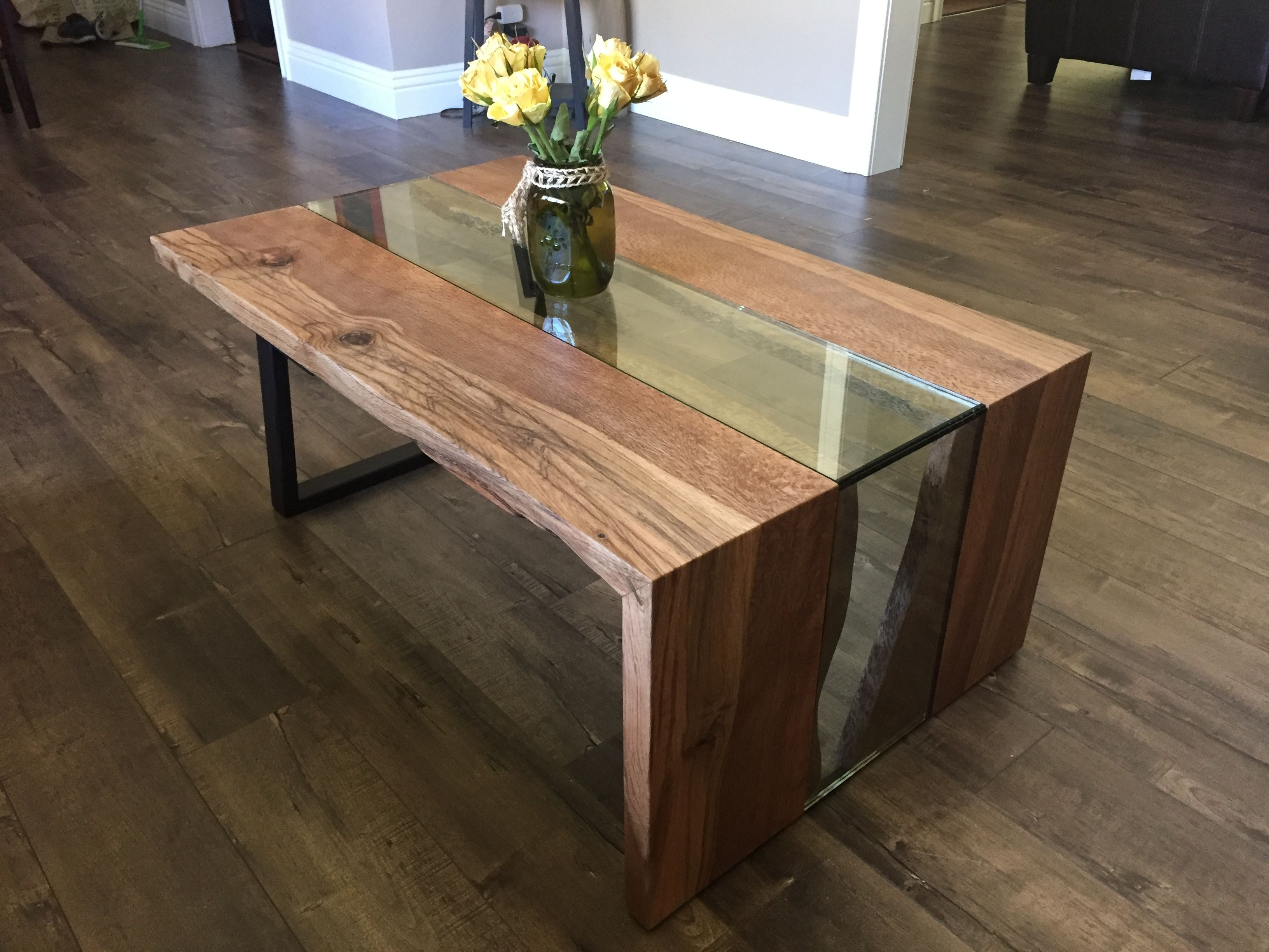 Live Edge Waterfall Coffee Table - Solid Black Oak, Steel, And Glass pertaining to Waterfall Coffee Tables (Image 17 of 30)