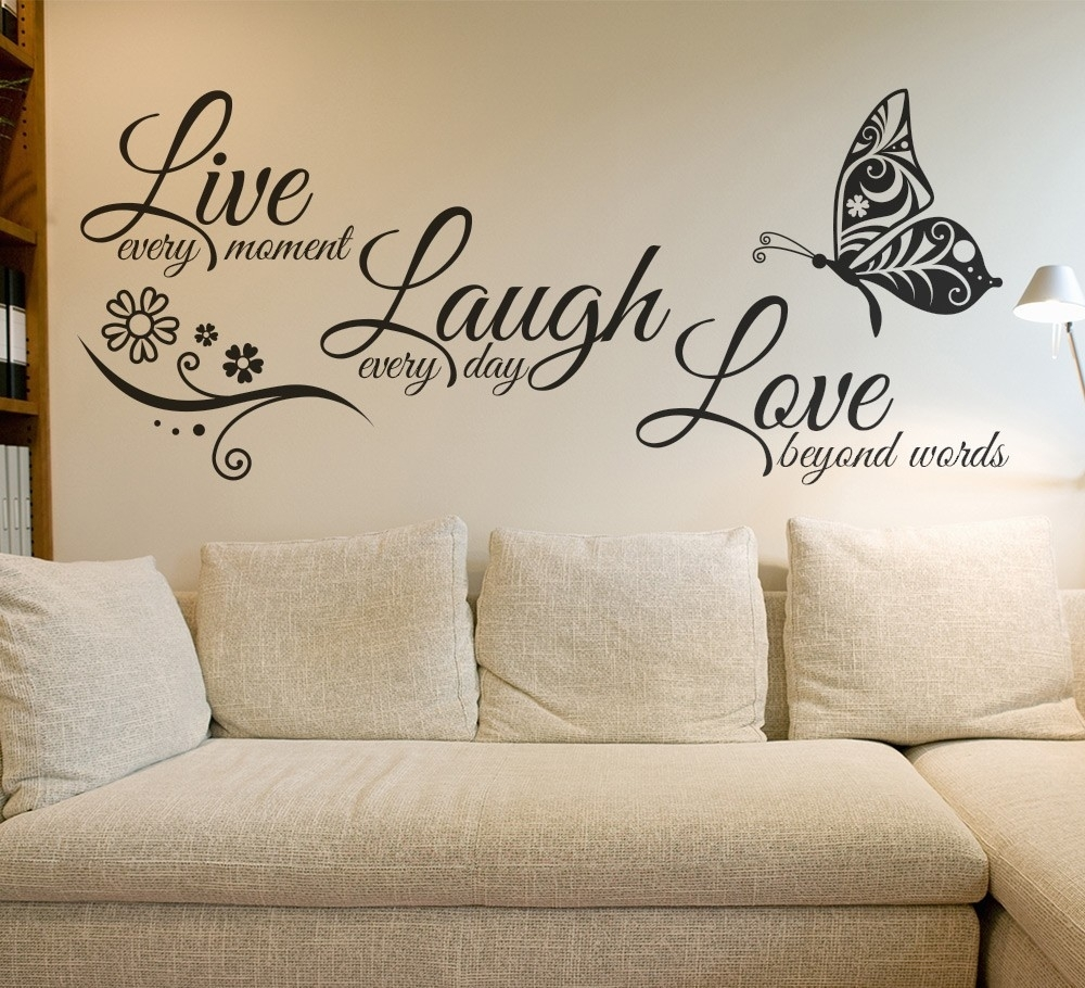 Live Laugh Love Butterfly Flower Wall Art Sticker – Gemdrip Intended For Love Wall Art (View 6 of 20)