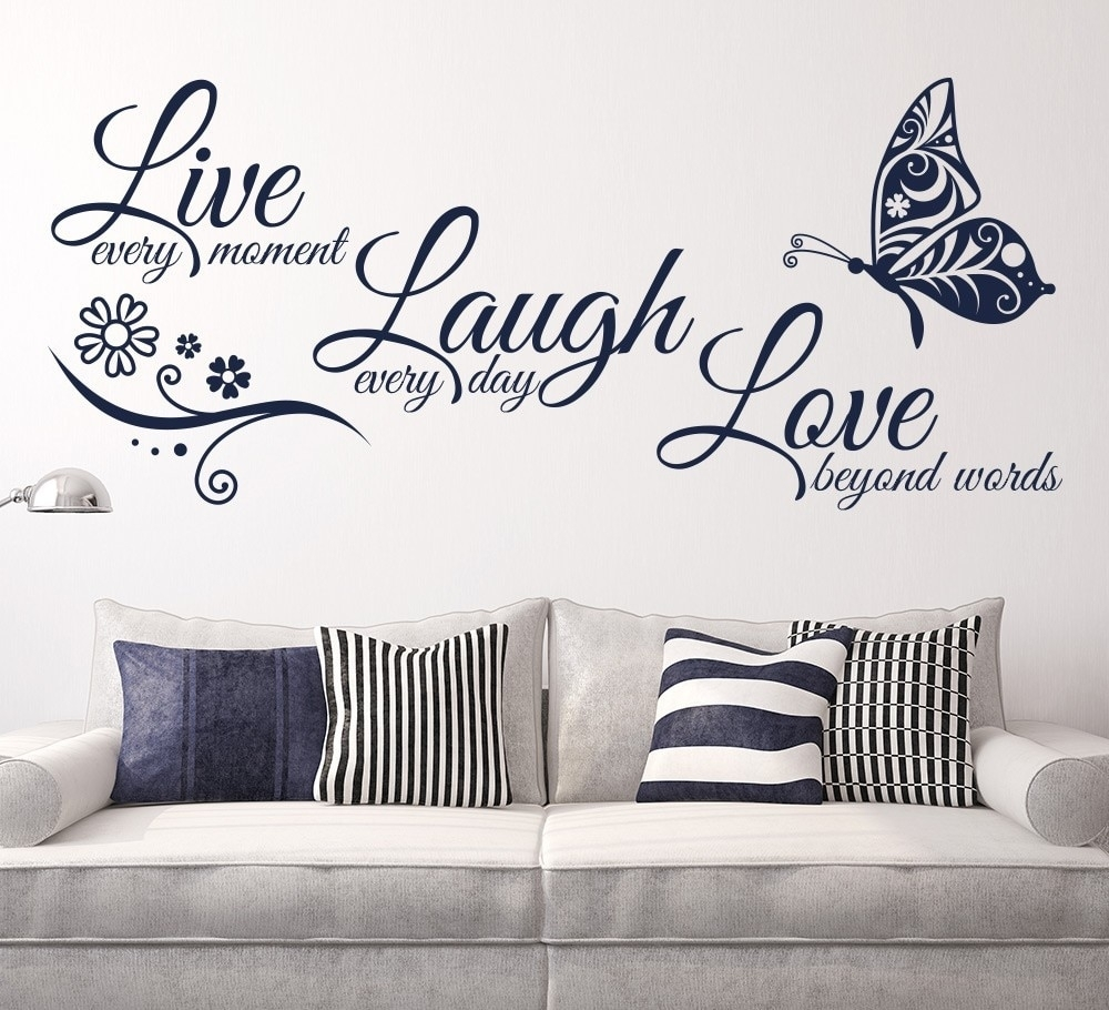 Live Laugh Love Butterfly Flower Wall Art Sticker Modern Wall Decals throughout Love Wall Art (Image 5 of 20)