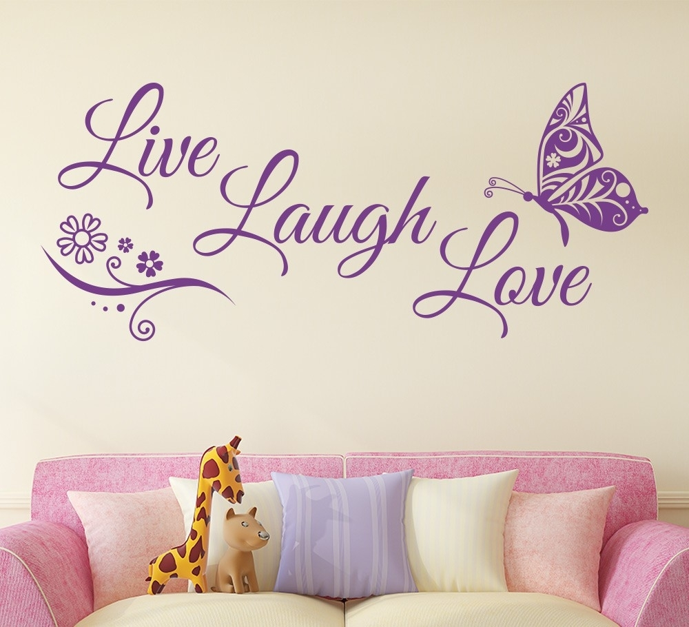 Live Laugh Love Butterfly Flower Wall Art Sticker Modern Wall Decals With Live Laugh Love Wall Art (View 6 of 20)