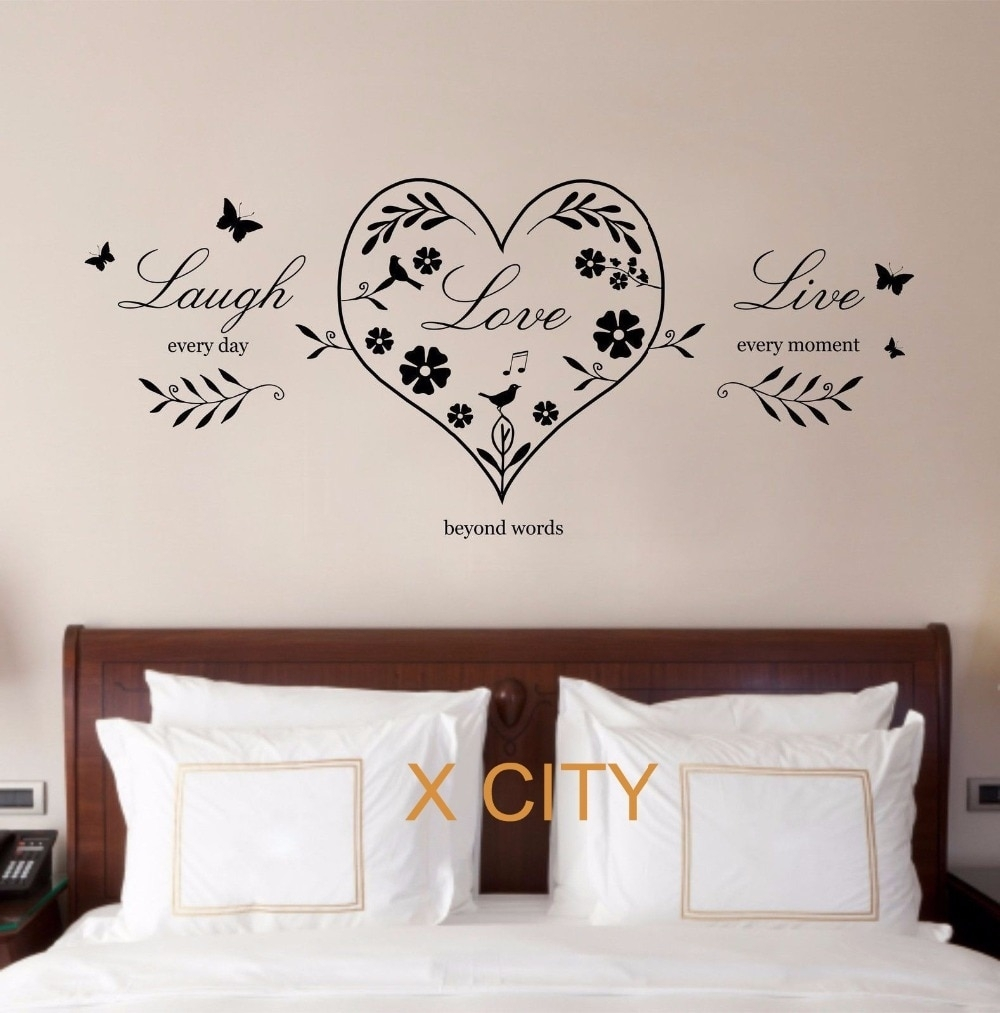 Live Laugh Love Heart Quote Creative Wall Art Sticker Removable Regarding Live Laugh Love Wall Art (View 16 of 20)