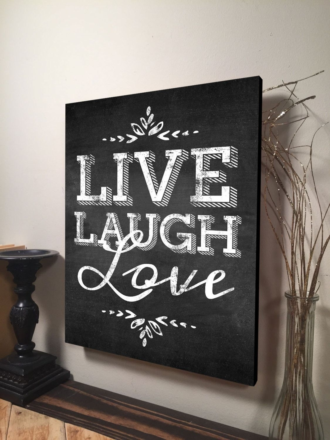 Live Laugh Love Wall Art Inspirational Quote Home Decor Canvas Art pertaining to Canvas Wall Art Quotes (Image 15 of 20)