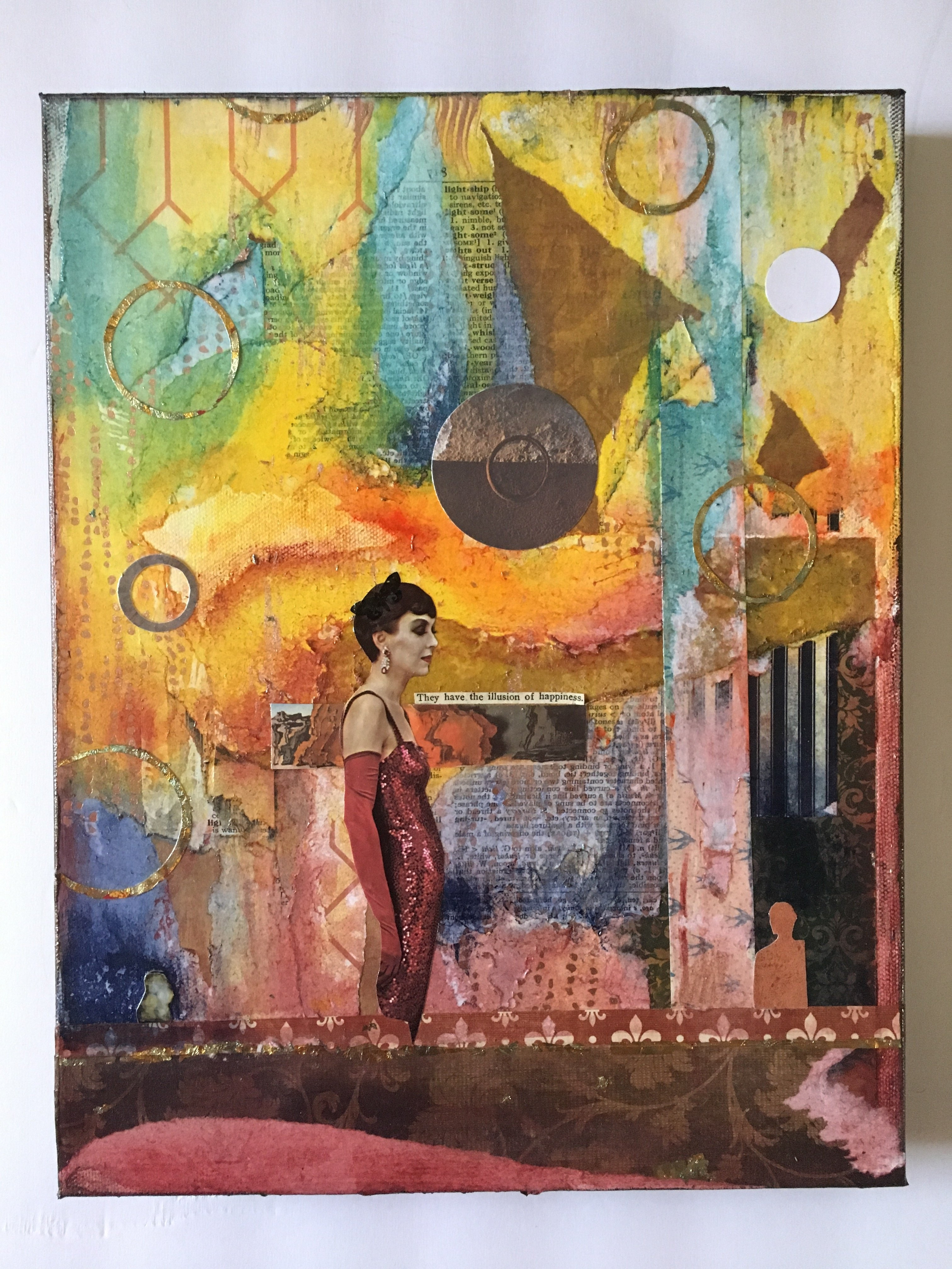 Living In Illusion - Original Collage - Vinatge Collage - Mixed for Colorful Wall Art (Image 17 of 20)