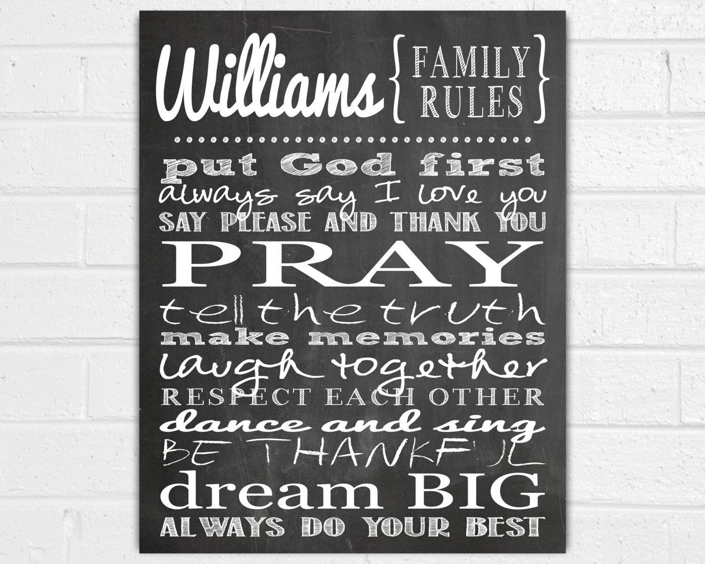 Lofty Idea Family Rules Wall Art Home Design Ideas Personalized Within Personalized Wall Art (View 16 of 20)