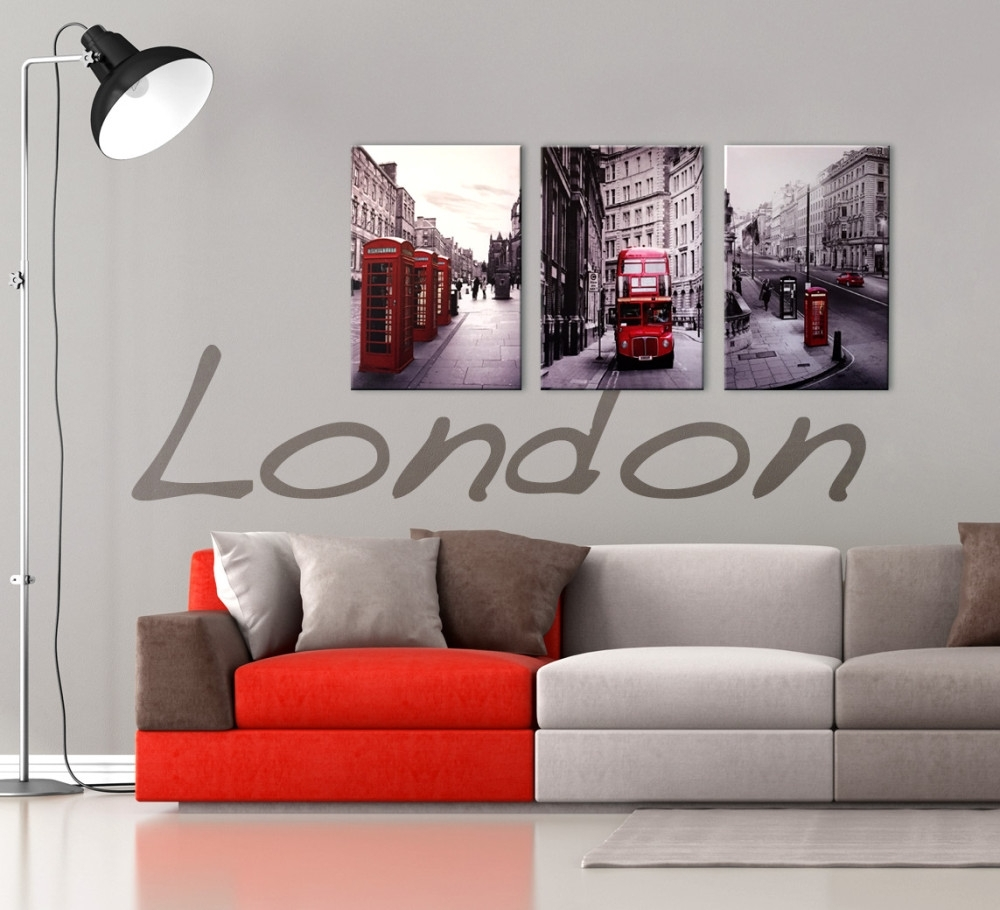 London Cityscape 3 Piece Printed Wall Art With Red And Black Canvas Wall Art (View 2 of 20)