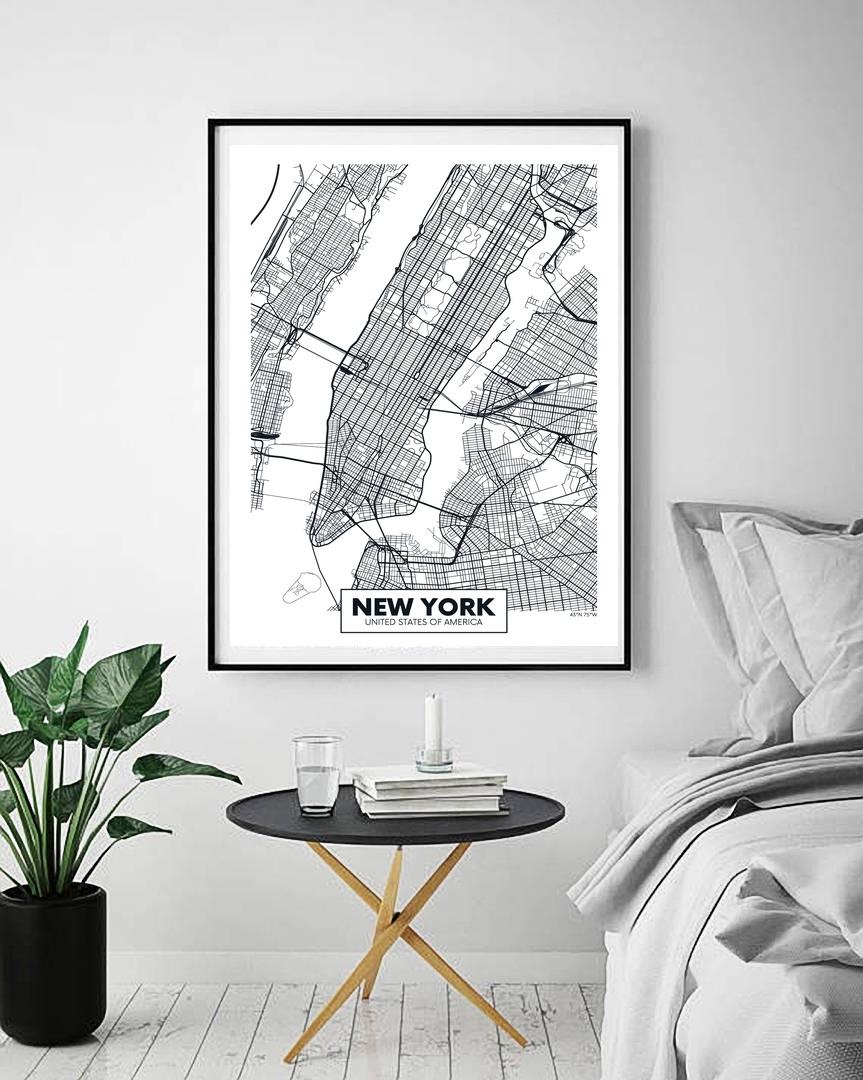 London Paris New York City Map Wall Art Paint Wall Decor Canvas (View 11 of 20)