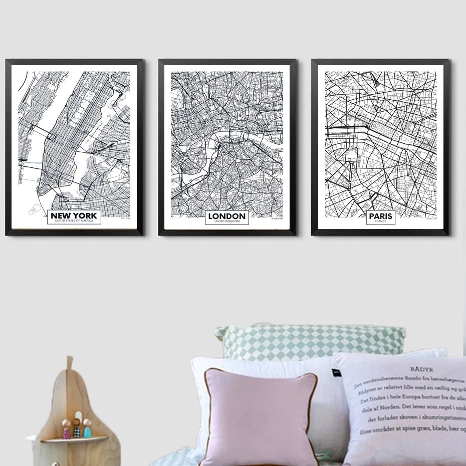 London Paris New York City Map Wall Art Paint Wall Decor Canvas. Map with regard to Map of Paris Wall Art (Image 7 of 20)