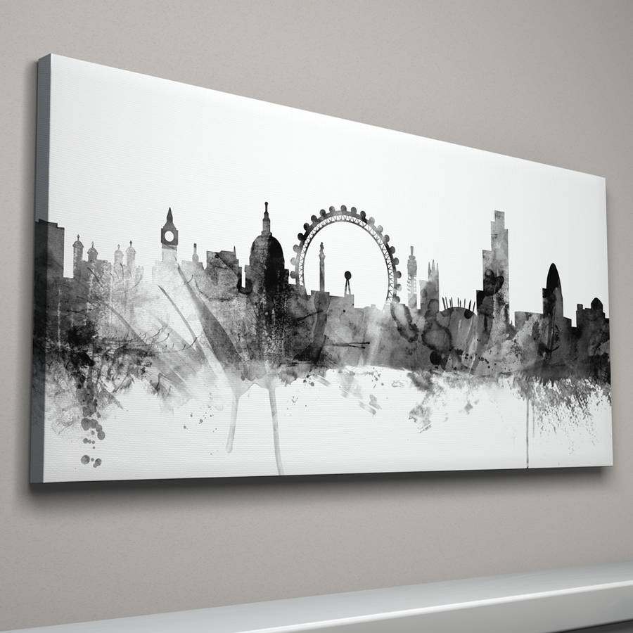 London Skyline Cityscape Black And Whiteartpause within Black And White Canvas Wall Art (Image 14 of 20)