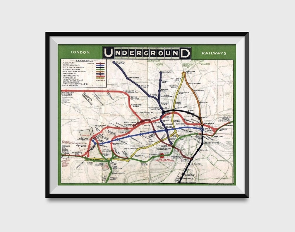 London Underground Map Wall Art Poster – London Tube Metro Subway Within Tube Map Wall Art (View 5 of 20)