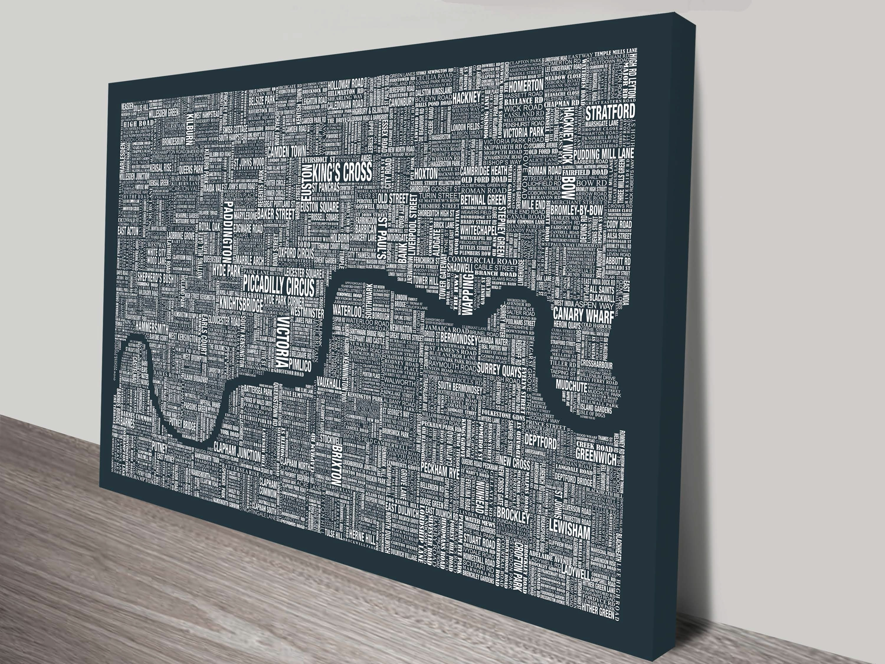 London Word Map Wall Artblue Horizon Prints intended for Map Wall Art (Image 10 of 20)