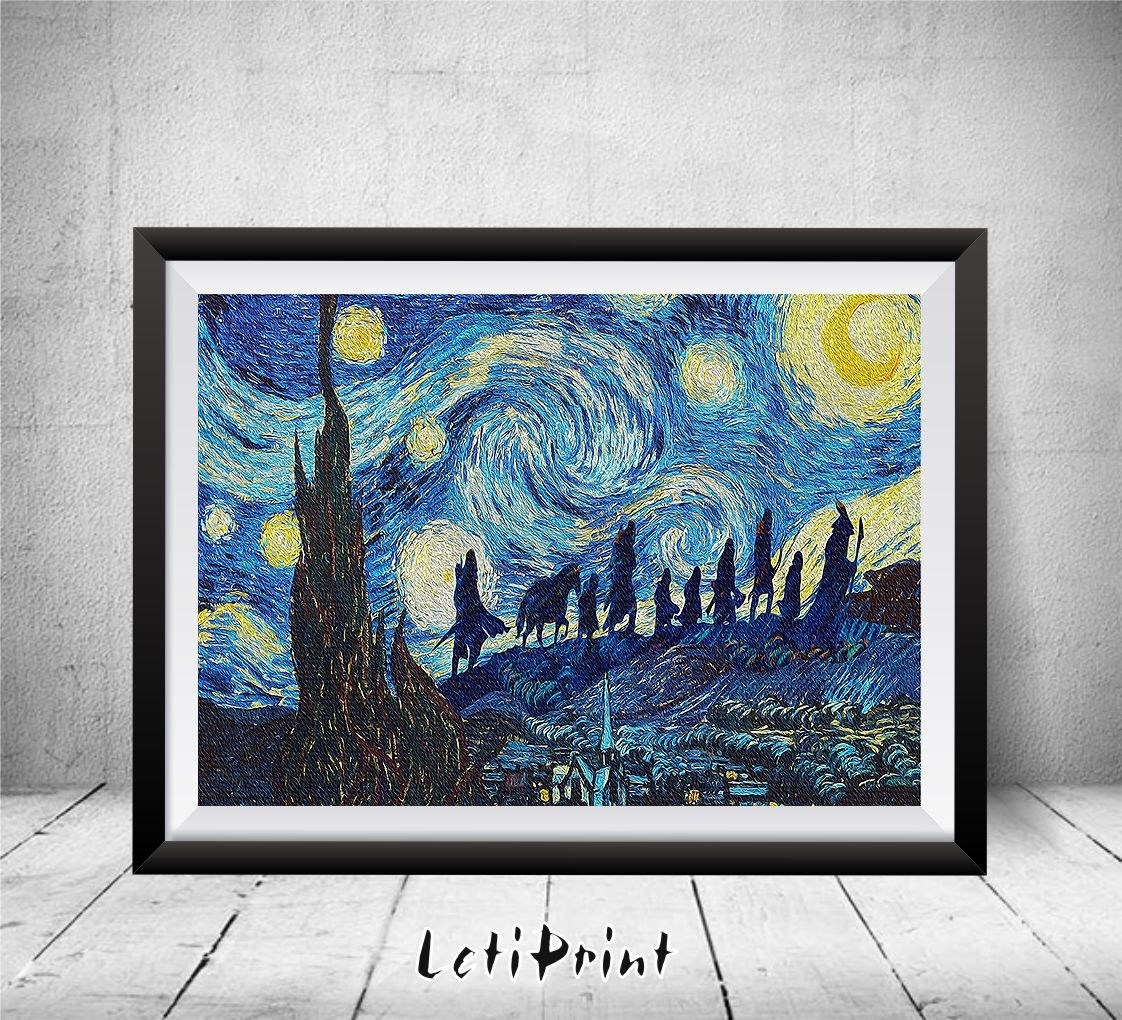 Lord Of The Rings Starry Night Print, Wall Art Decor, Lord Of The within Lord of the Rings Wall Art (Image 12 of 20)