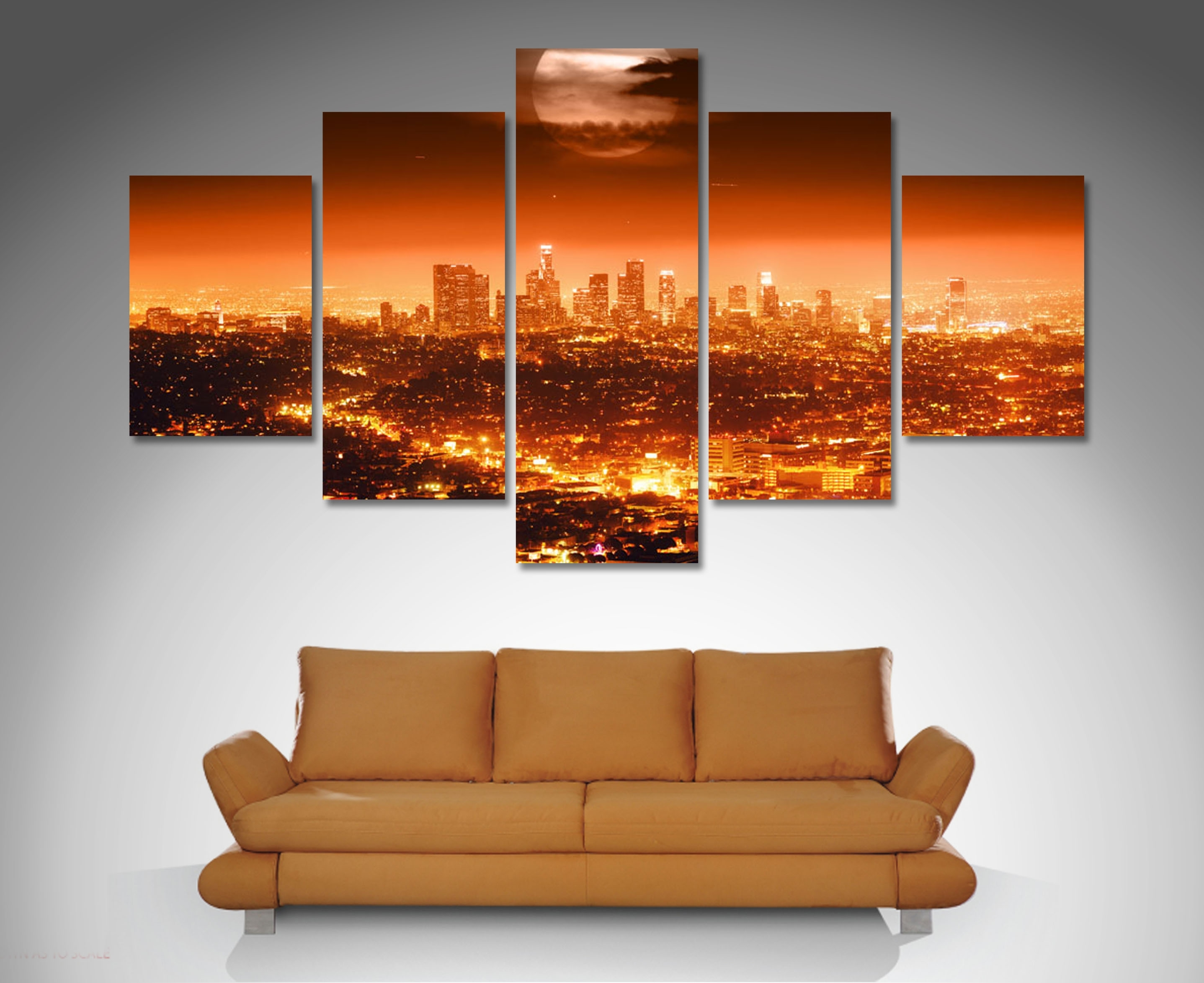 Los Angeles 5 Panel Wall Art Canvas Print Intended For Los Angeles Wall Art (View 8 of 20)