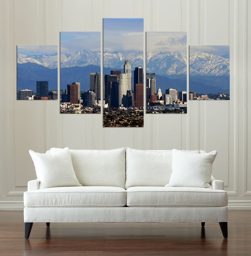 Los Angeles Buildings Hd Canvas Painting Wall Art Game 5 Pieces Intended For Los Angeles Wall Art (View 17 of 20)