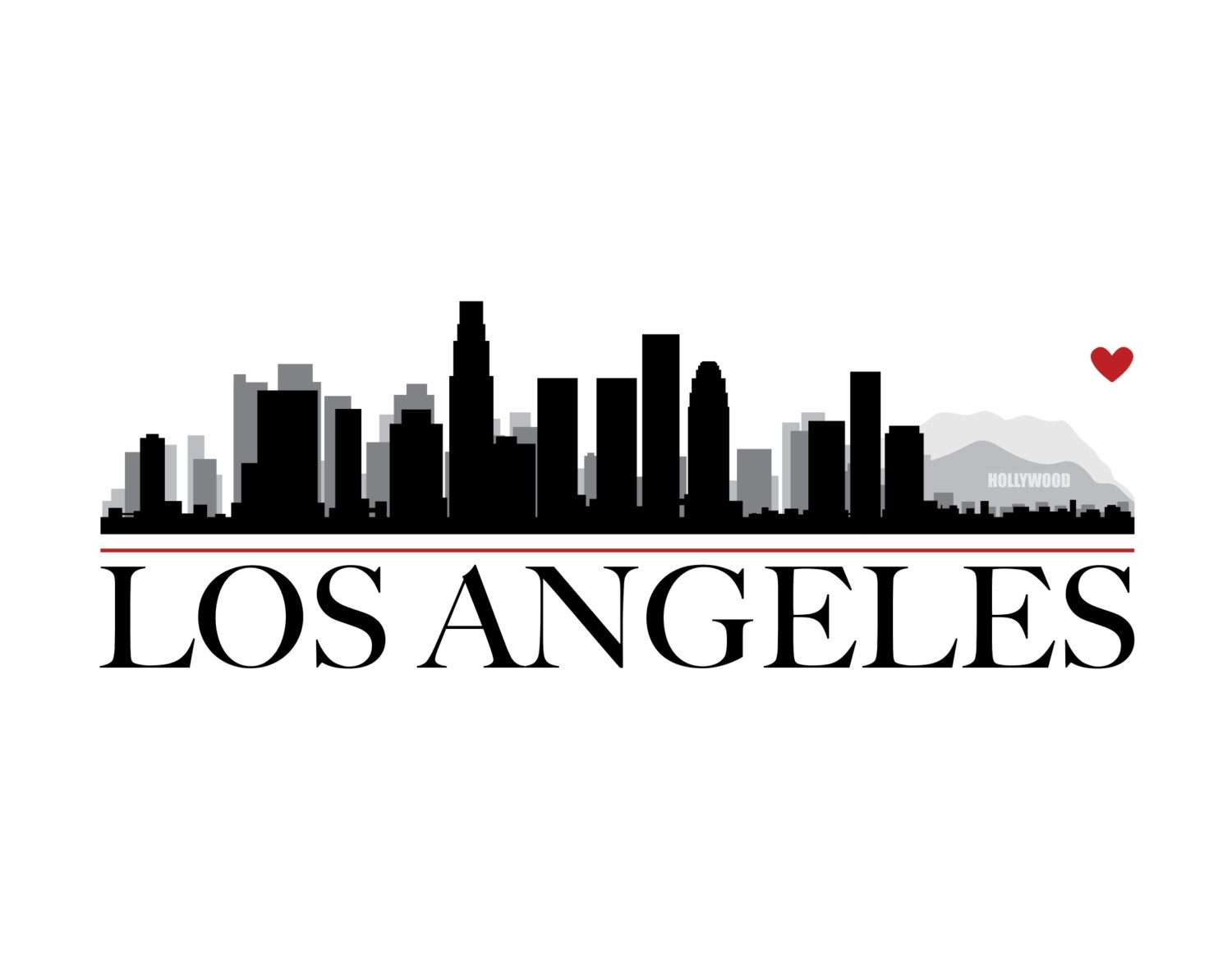 Los Angeles City Skyline With Heart Diy Printable Wall Art | Etsy Inside Los Angeles Wall Art (View 11 of 20)