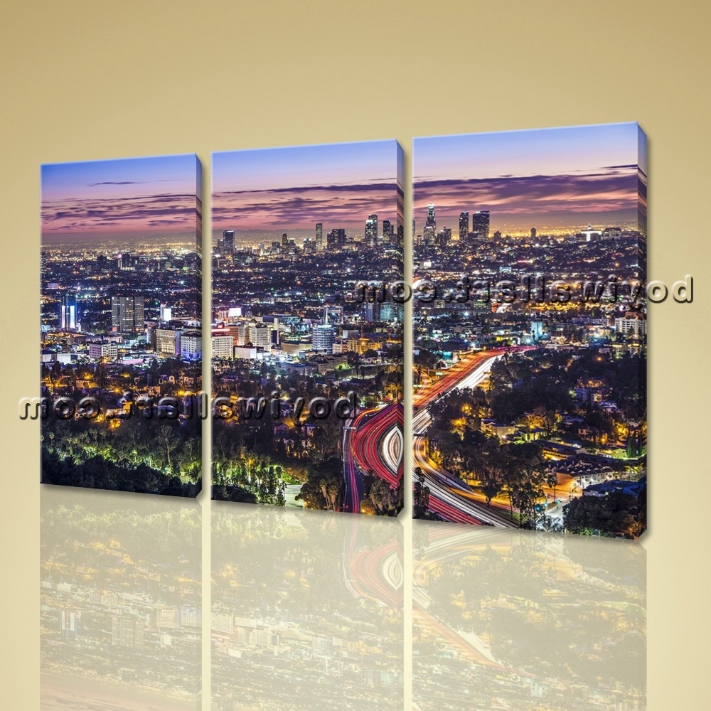 Los Angeles Skyline Painting Large Los Angeles Skyline Cityscape On Within Los Angeles Wall Art (View 13 of 20)