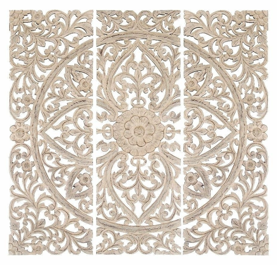 Lotus Wall Panel Set Home Wall Decor Wall Art Set Of 3 Carved Wood For Wood Medallion Wall Art (View 4 of 20)