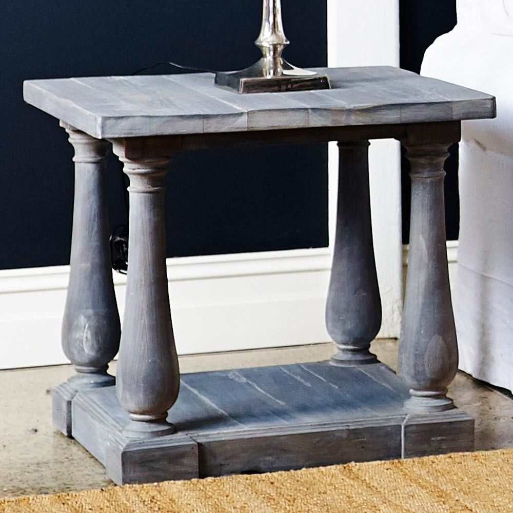 Louis Avignon Side Table Cloudy Grey Lime Wash Finish French Country regarding Limewash Coffee Tables (Image 24 of 30)