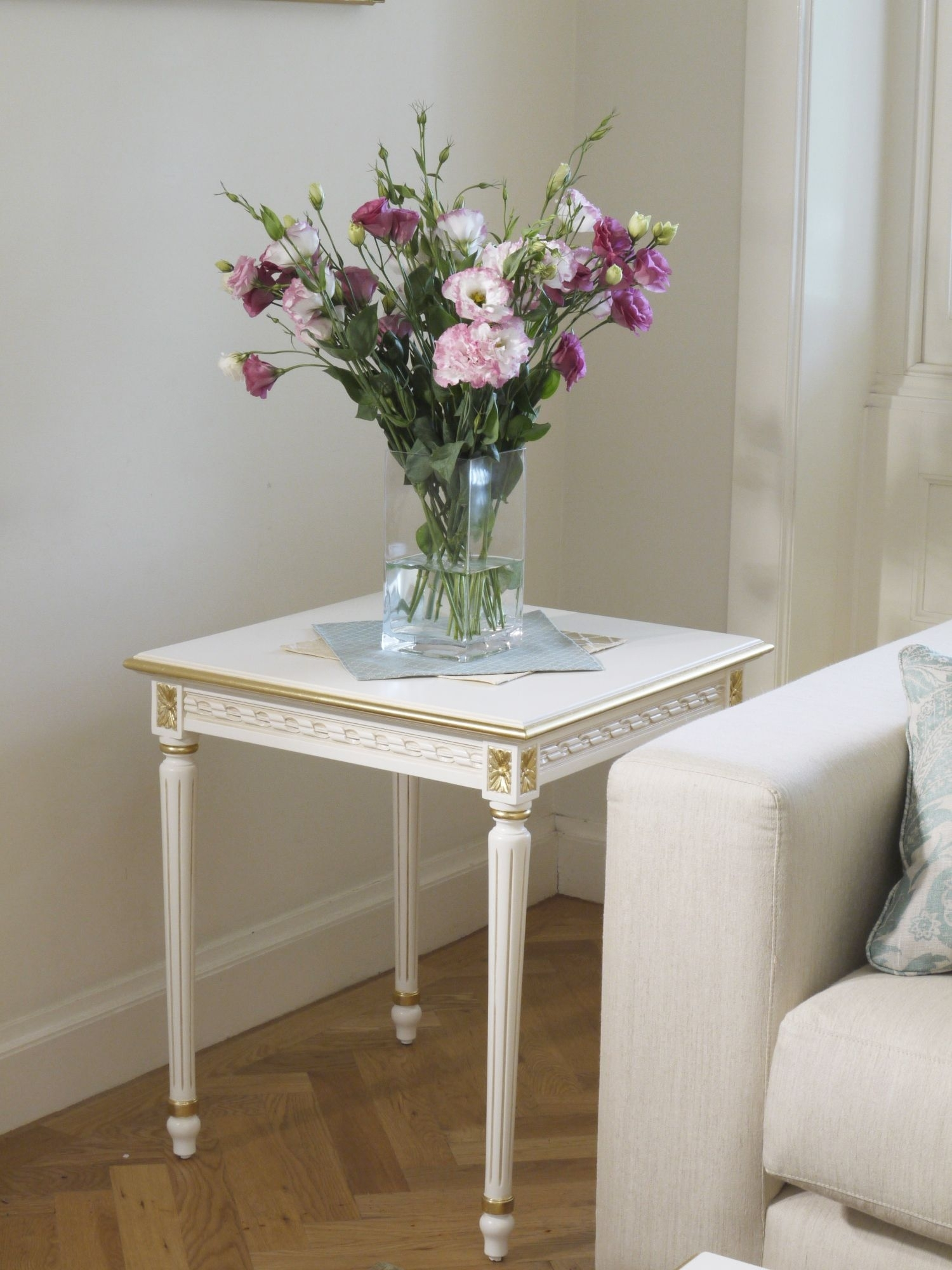 Louis Xvi Side Table Antique White With Gilding | The French Lounge within Fresh Cut Side Tables (Image 19 of 30)
