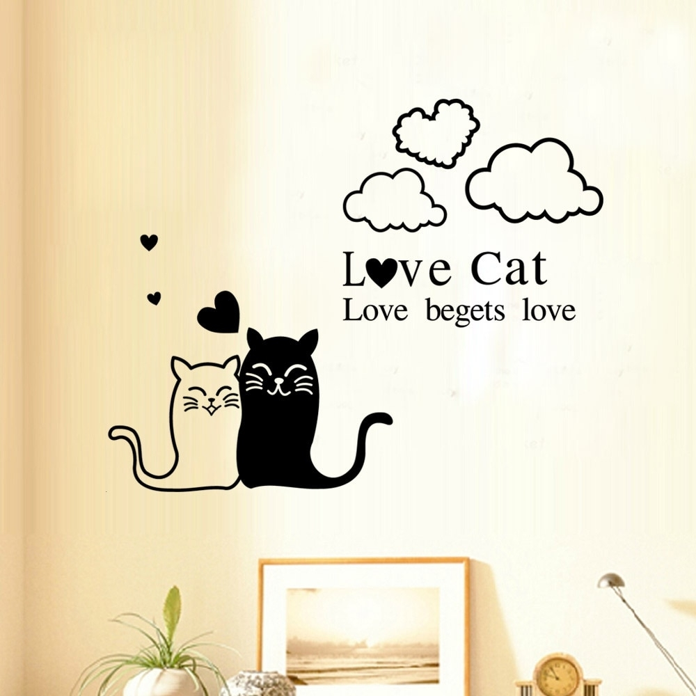 Love Cat Wall Sticker Romantic Love Wall Art Decals Bedroom Living With Love Wall Art (View 12 of 20)