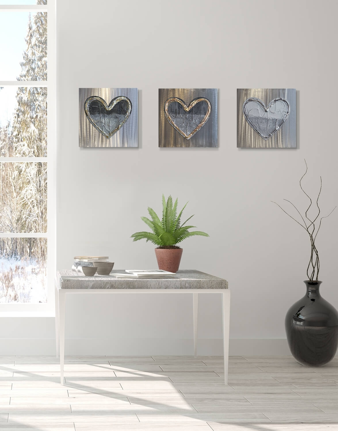 Love Heart Brass Fusion Silver Wall Art, Contemporary Art Uk, Silver Throughout Silver Wall Art (View 14 of 20)
