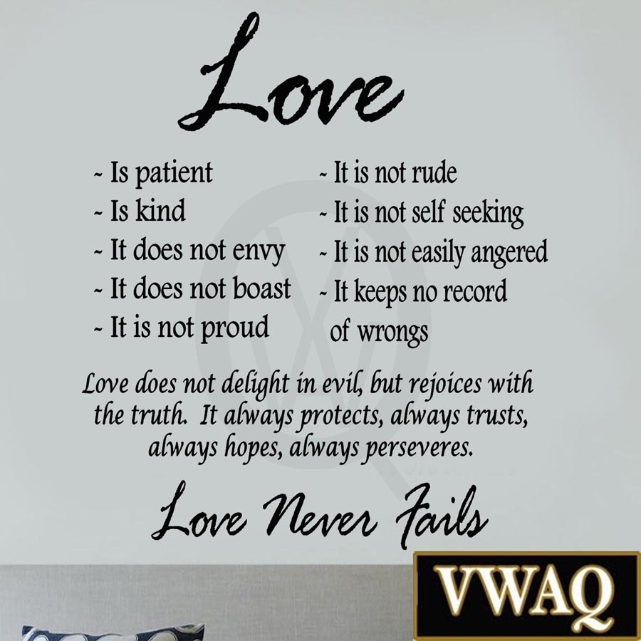 Love Is Patient Love Is Kind Wall Art Decor Vinyl Decal Sayings Pertaining To Love Is Patient Wall Art (View 5 of 20)