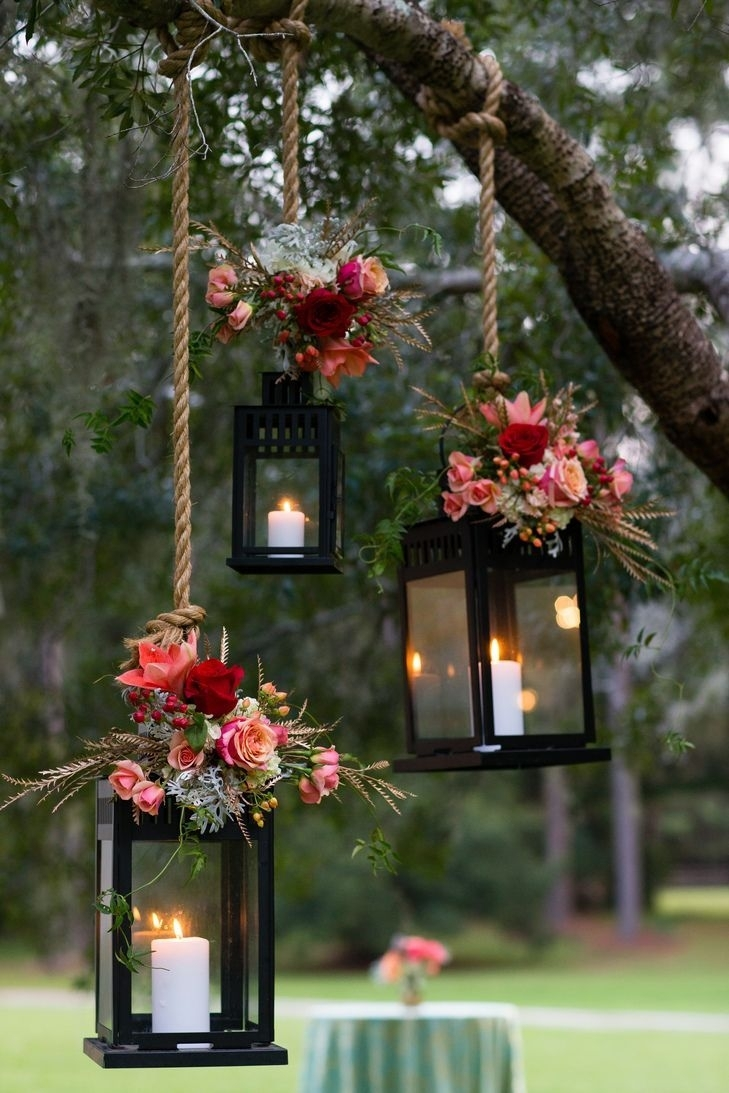 Love The Pair Of Bright Floral Bouquets Against The Dark Color Of in Outdoor Lanterns For Wedding (Image 7 of 20)