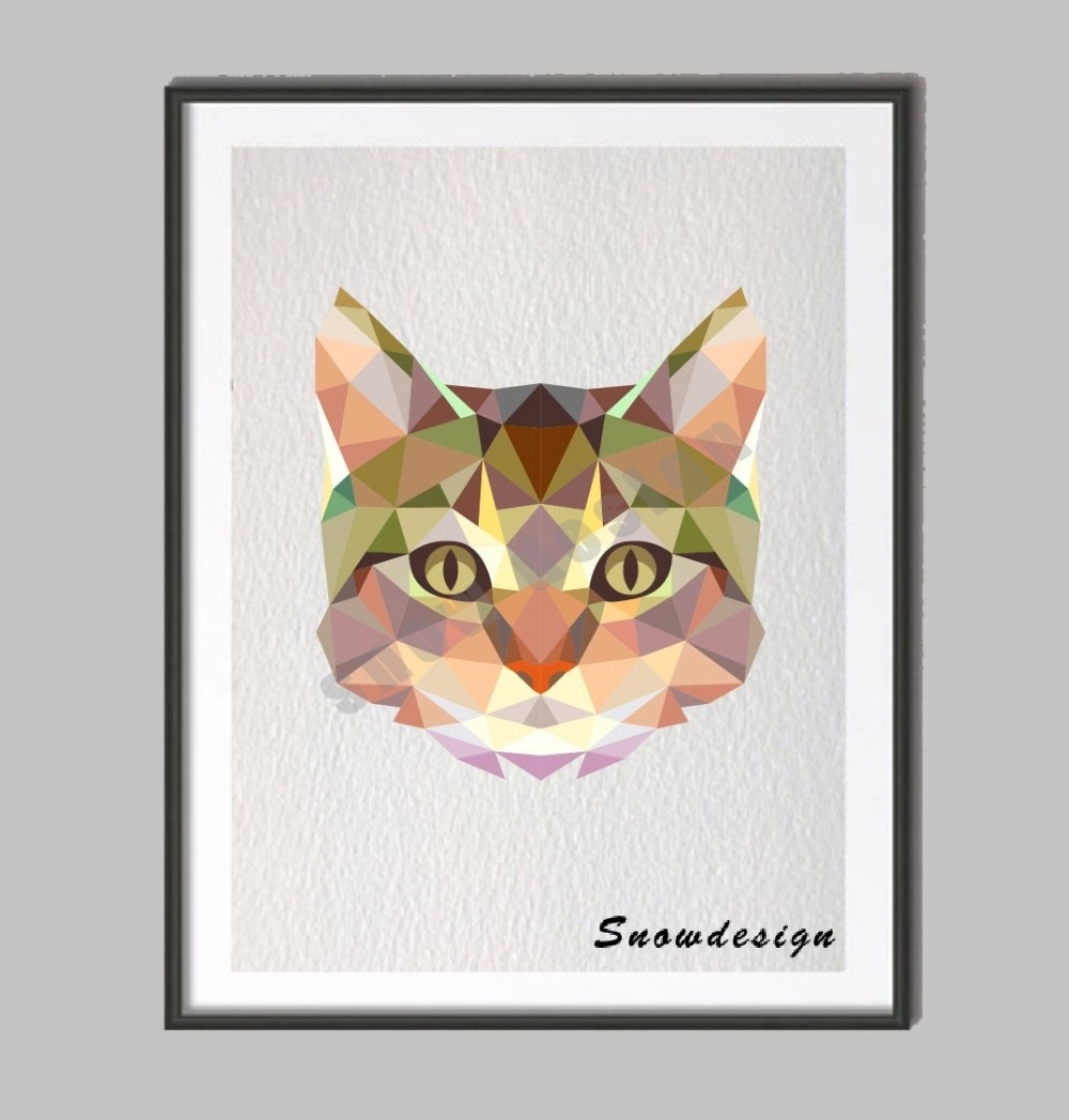 Low Poly Modern Geometric Coral Cat Canvas Painting Wall Art Print Inside Cat Canvas Wall Art (View 14 of 20)