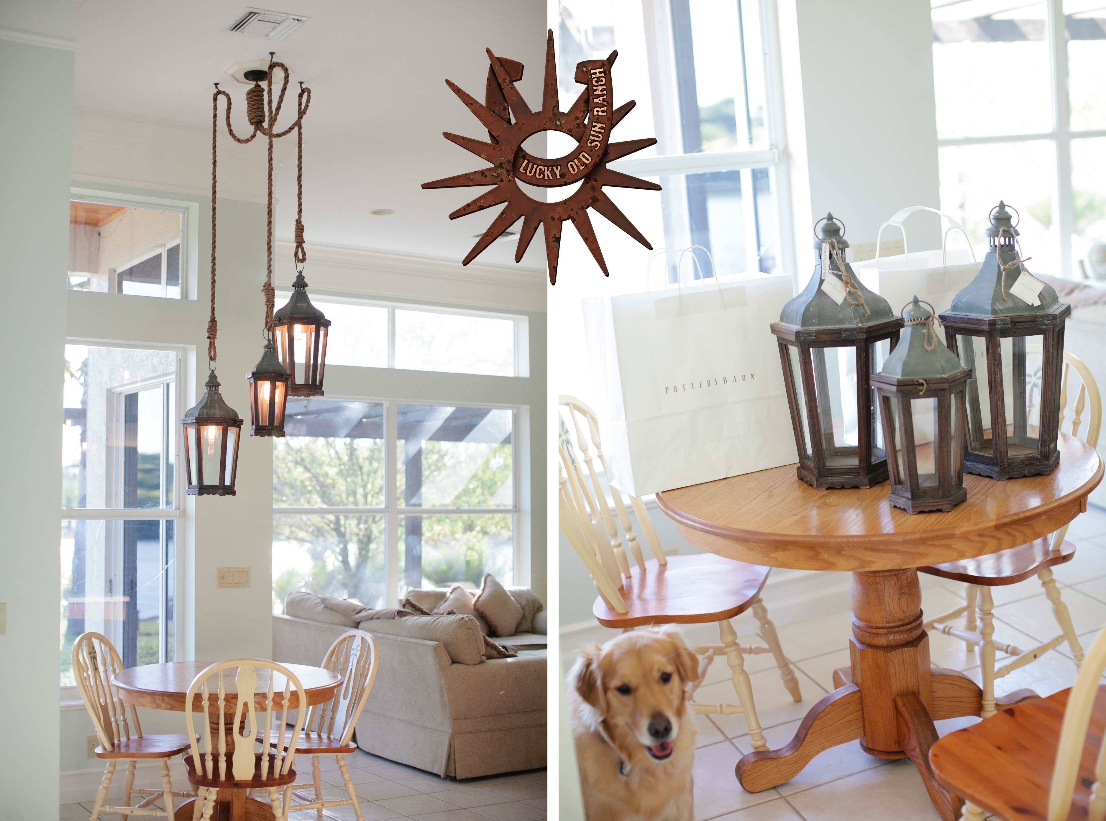 Lucky Old Sun Ranch | Lantern And Rope Chandelier | Pottery Barn with Outdoor Lanterns At Pottery Barn (Image 8 of 20)