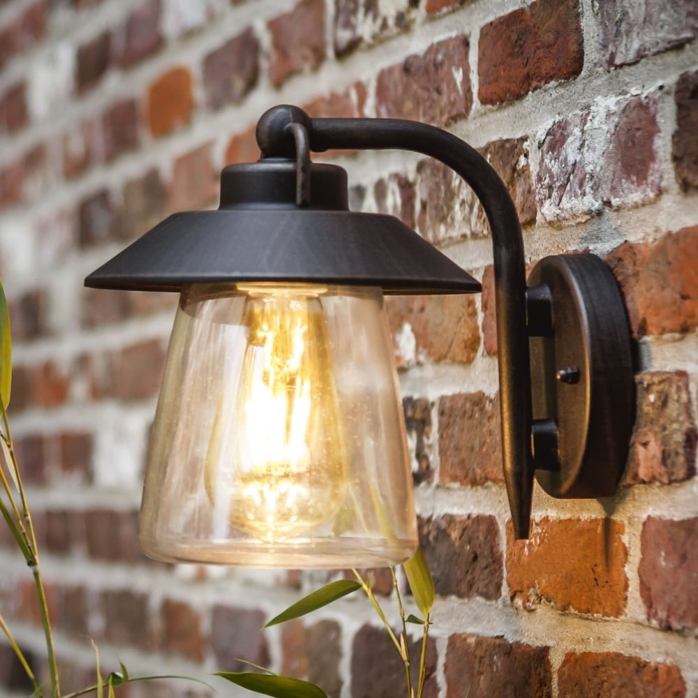 Lutec Cate Exterior Wall Lantern In Brown/black - Fitting Type From within Outdoor Mains Lanterns (Image 8 of 20)