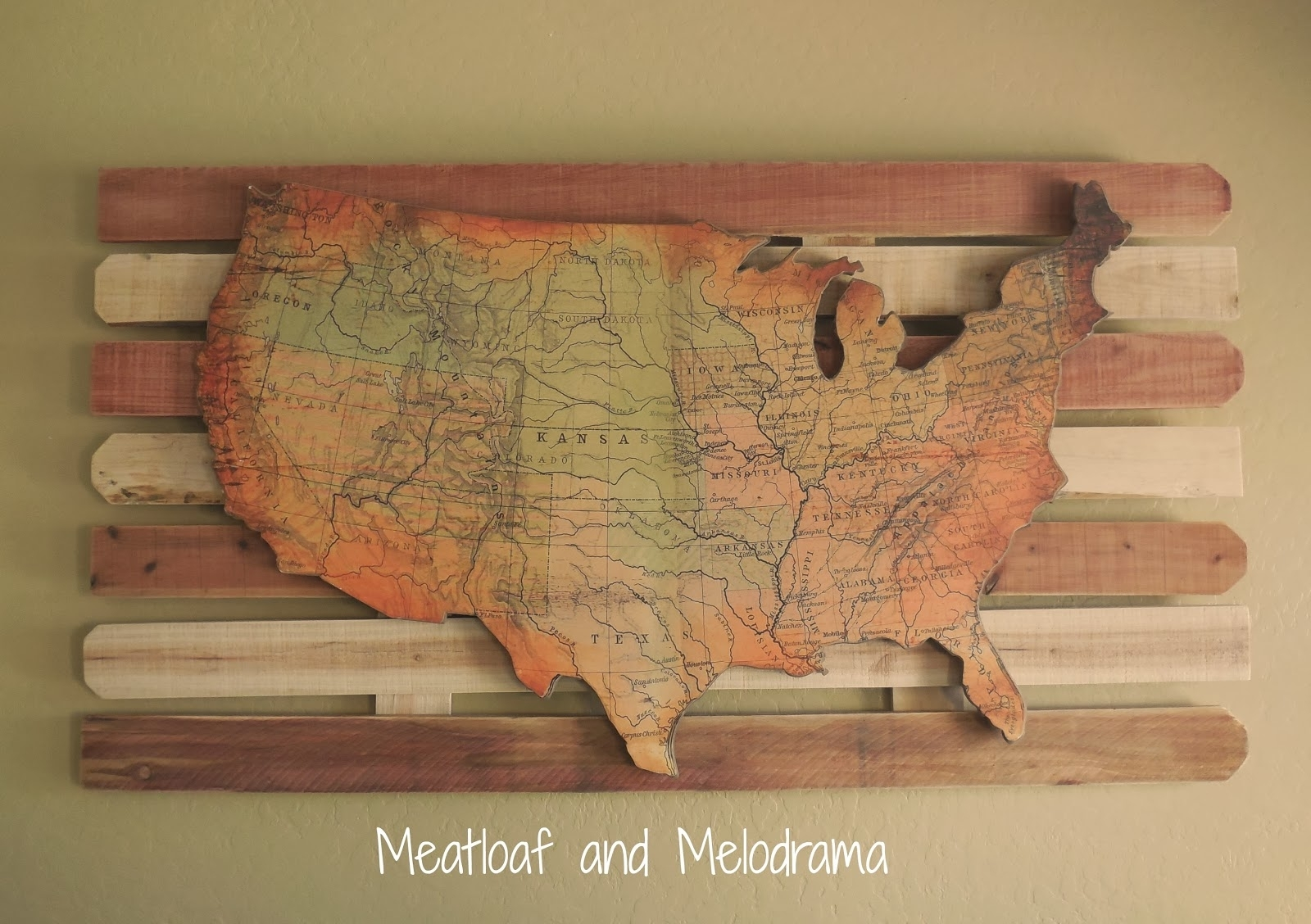 Luxurious And Splendid Us Map Wall Art With Rustic Wood Usa World pertaining to United States Map Wall Art (Image 5 of 20)