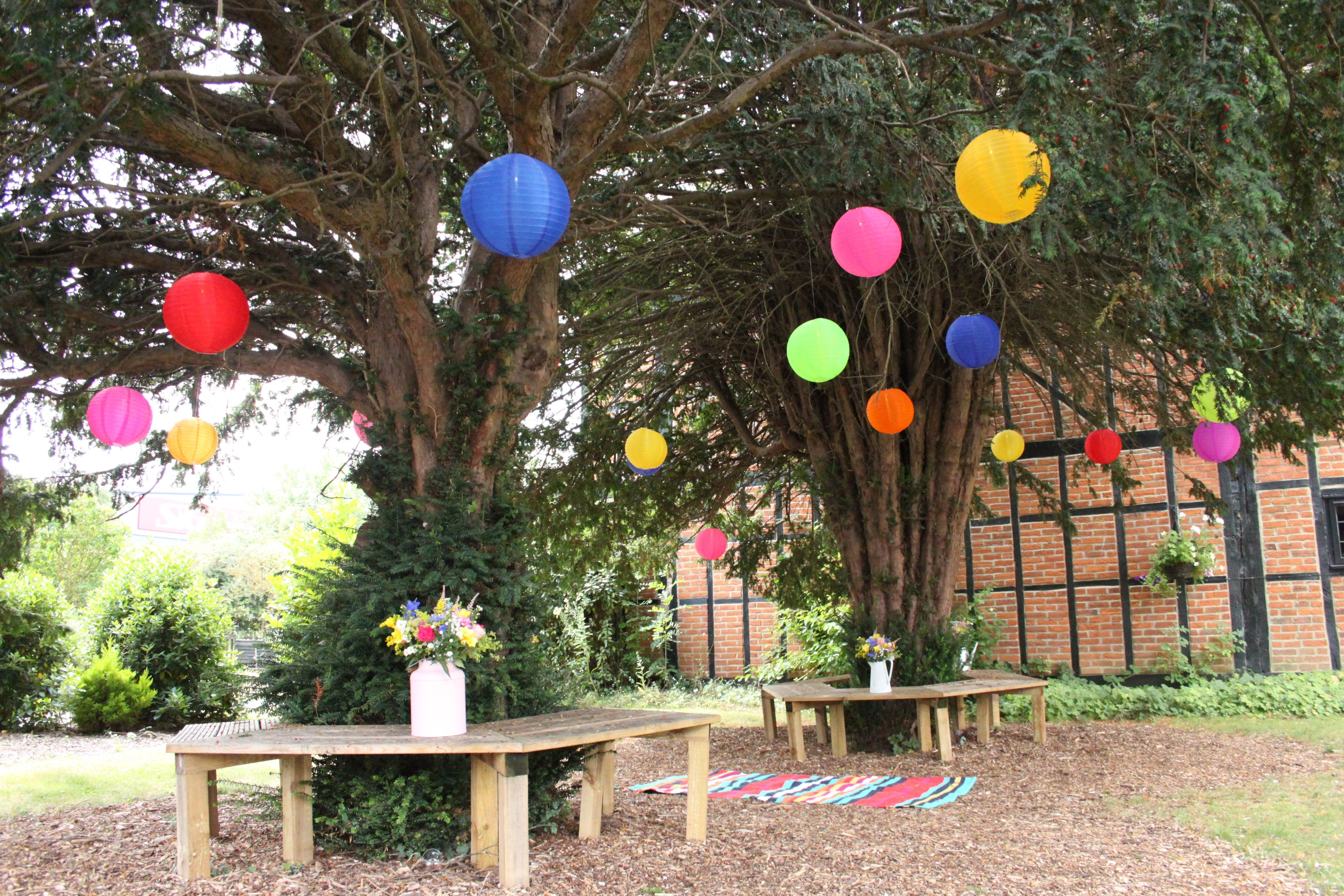 Mad Hatters Outdoor Coloured Nylon Lanterns Hanging Randomly In The pertaining to Outdoor Nylon Lanterns (Image 9 of 20)