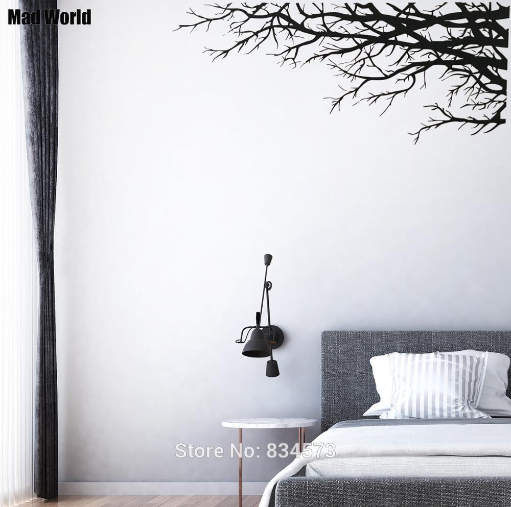 Mad World Tree Branch Elegant Nature Forest Corner Wall Art Sticker intended for Corner Wall Art (Image 17 of 20)