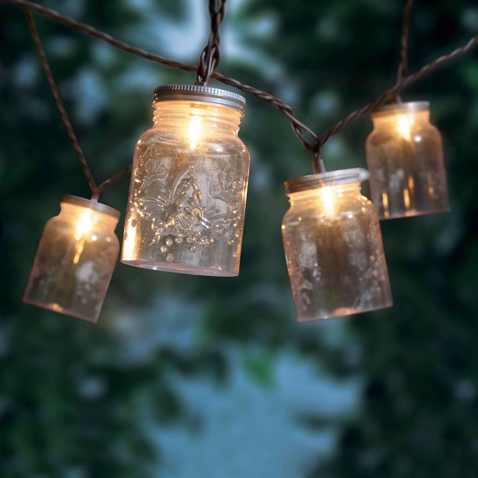 Mainstays Mason Jar Mini String Lights, 10 Count - Walmart throughout Outdoor Jar Lanterns (Image 12 of 20)