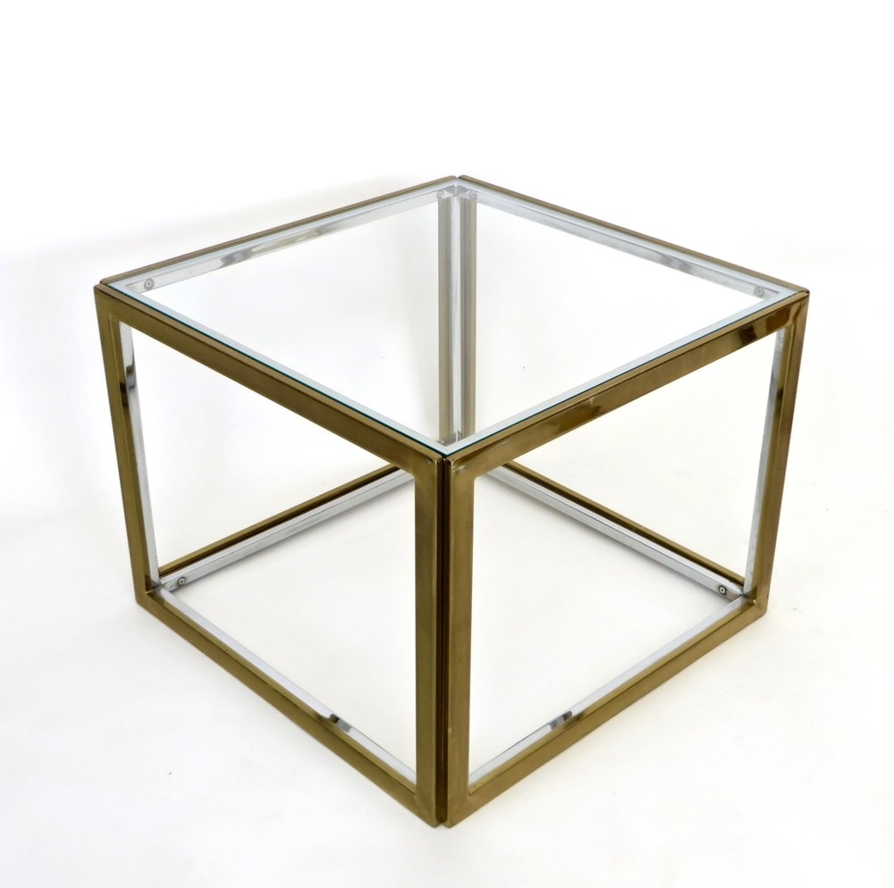 Maison Charles Et Fils French Chrome And Brass Coffee Table Two throughout Brass Iron Cube Tables (Image 21 of 30)