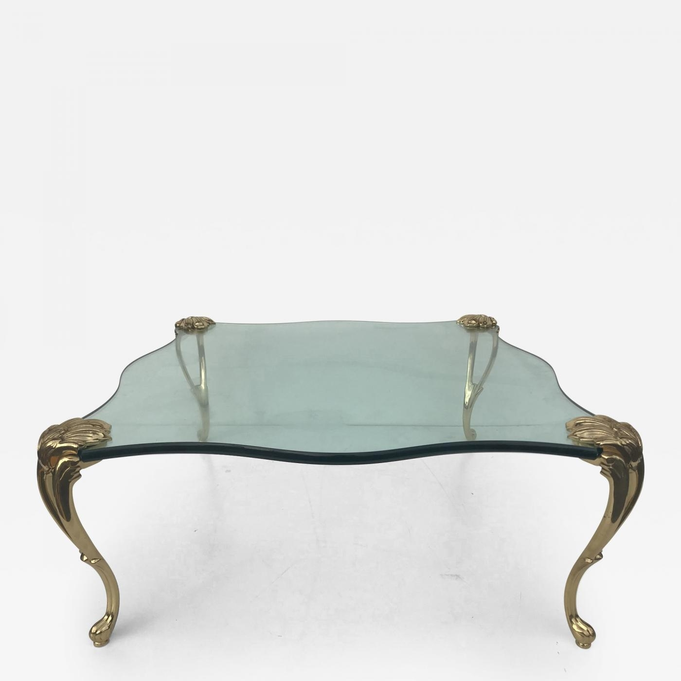 Maison Jansen - Square Glass And Brass Coffee Table Manner Of Maison for Cacti Brass Coffee Tables (Image 19 of 30)