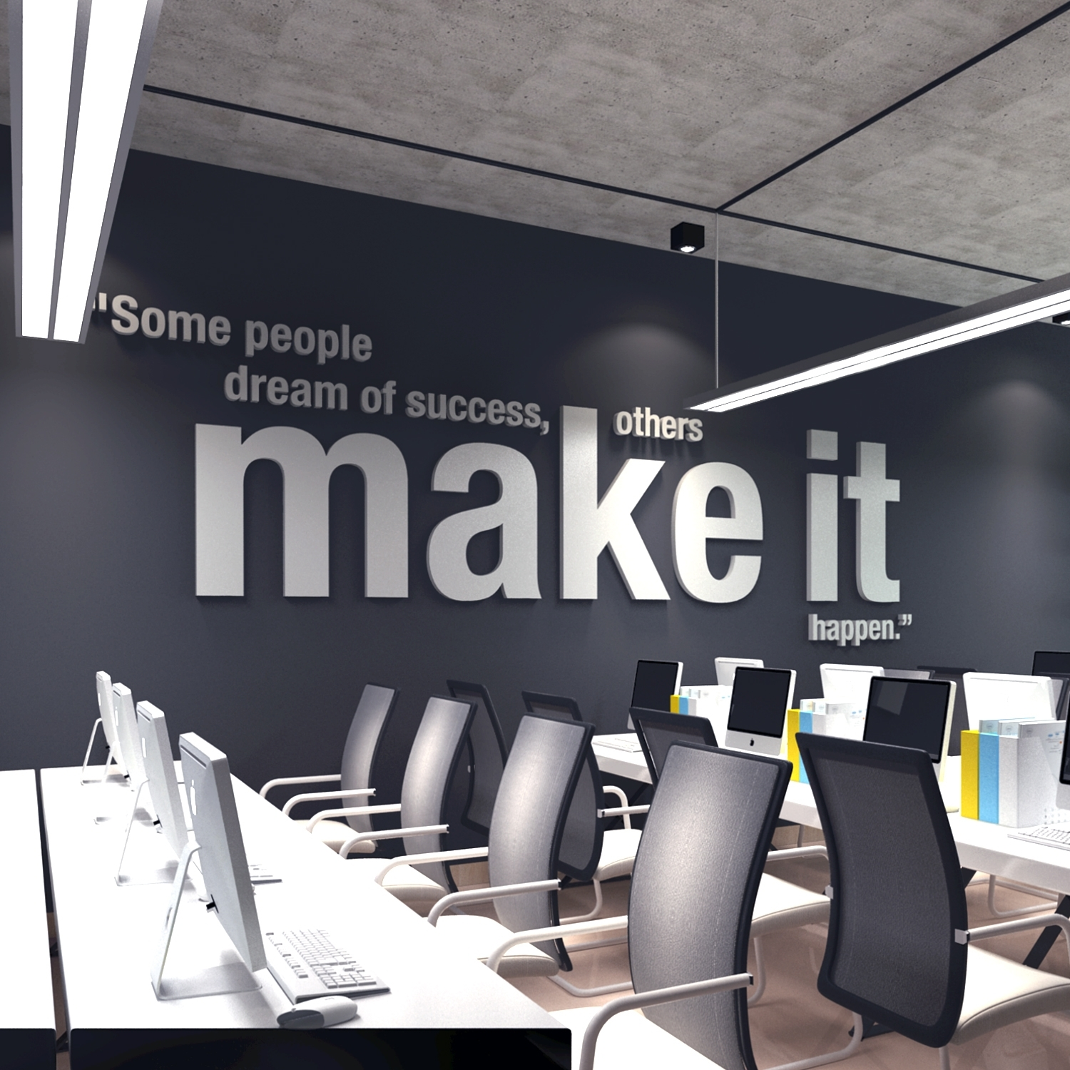 Make It Happen 3D Office Wall Art - Moonwallstickers pertaining to Office Wall Art (Image 5 of 20)