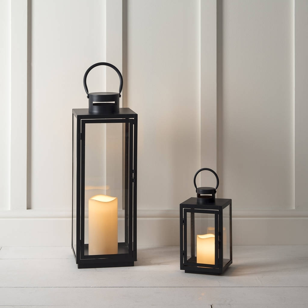 Malvern Outdoor Battery Candle Lantern Setlights4Fun for Outdoor Indian Lanterns (Image 13 of 20)