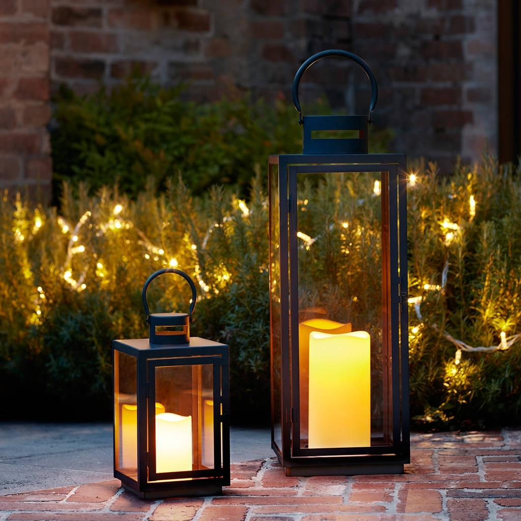 Malvern Outdoor Battery Candle Lantern Setlights4Fun pertaining to Outdoor Lanterns With Battery Candles (Image 9 of 20)