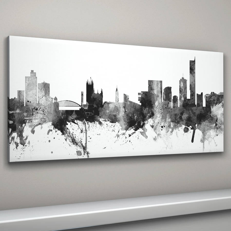 Manchester Skyline Cityscape Black And Whiteartpause with Black And White Canvas Wall Art (Image 15 of 20)