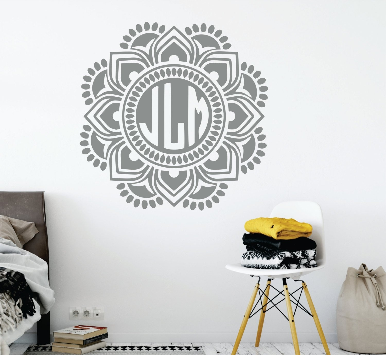 Mandala Monogram Wall Decal // Nursery Wall Decal // Mandala Wall throughout Monogram Wall Art (Image 9 of 20)